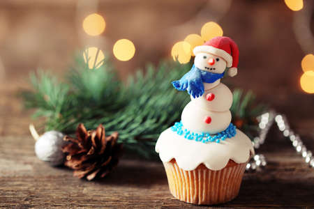 Christmas cupcakes with decoration, closeup