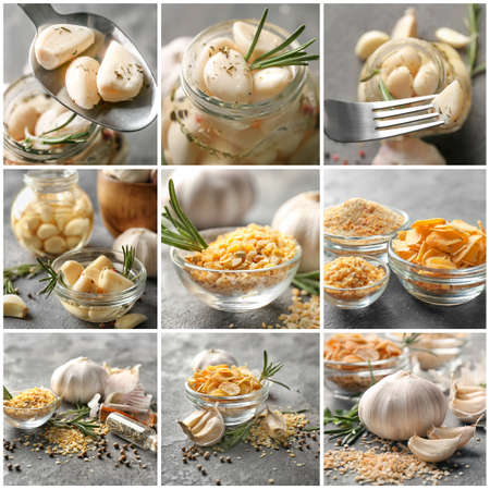 Collage with aromatic garlic
