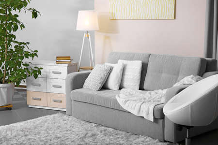 Living room design with sofa and lamp Stock Photo
