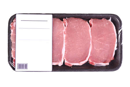 Packed pieces of pork meat, isolated on white Banque d'images