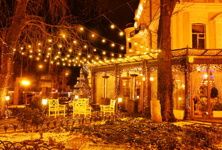 Night view of lighting cafe in Odessa