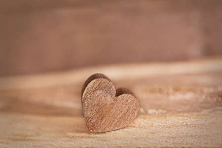 Valentine concept. Love heart on wooden background Stock Photo