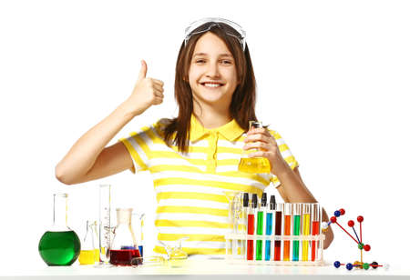 Beautiful girl with chemical flasks and test-tubes isolated on white background Stock Photo