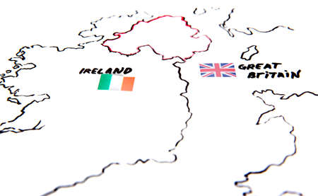 Map of Ireland and United Kingdom - territorial dispute concept