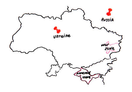 Map of Ukraine and Russia - territorial dispute concept Stock Photo