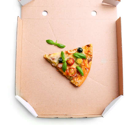 Piece of fresh pizza on cardboard box isolated on white
