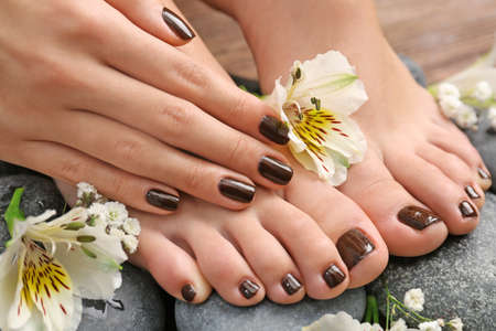 Manicured female feet and hand with flowers on spa stones closeup
