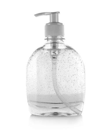 Il sapone liquido è isolato su sfondo bianco
