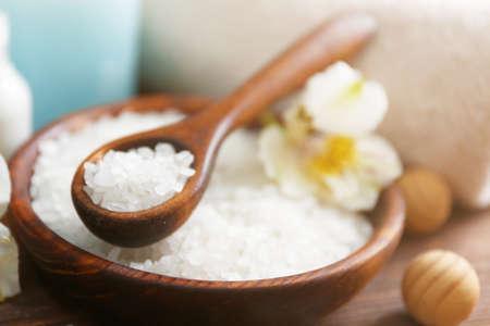 Spa concept. Bowl with sea salt, close up. Stock Photo