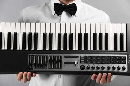 Male hands with synthesizer closeup Reklamní fotografie