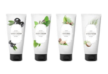 Body cream set with natural extracts on white background