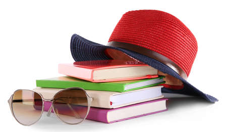 Travel set : books, hat and glasses, isolated on white background Stock Photo
