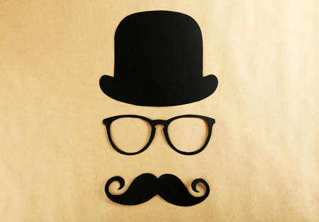 Photo booth props glasses, mustache and bowler Stok Fotoğraf