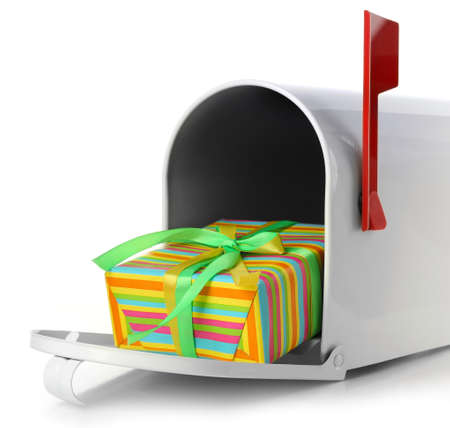 Mailbox with gift box isolated on white Фото со стока