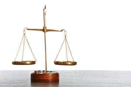 Justice scales on white background