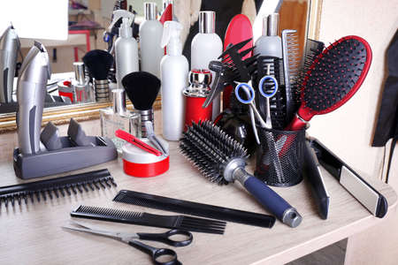 Professional hairdresser tools on table