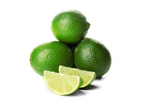 Fresh limes, isolated on white background