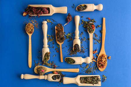 The different types of tea presented in the wooden scoops and spoons, top view Stok Fotoğraf
