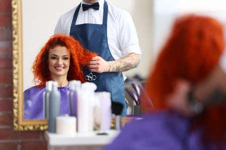 Beautiful girl visit hairdressing salon