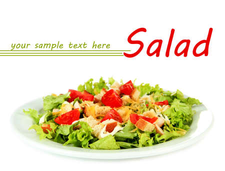 Caesar salad on plate, isolated on white background Stock Photo