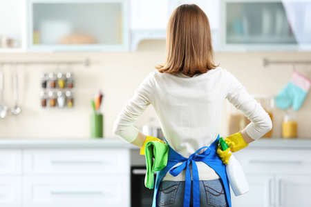 Koncepcja czyszczenia. Kobieta z płynem do prania i szmatą, widok z tyłu