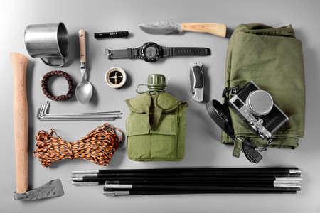 Traveler set on a gray background Stockfoto