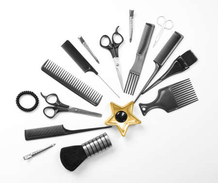Barber set with tools, isolated on white Stock Photo