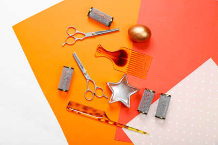 Barber set with tools on bright paper background