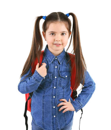 Little girl with red back pack, isolated on white