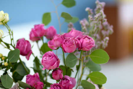 Bouquet of fresh roses closeup