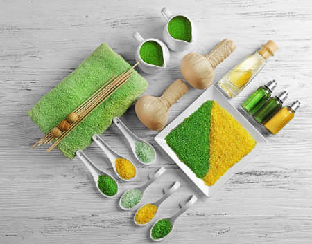 Spa ingredients on a white table, top view Stock Photo