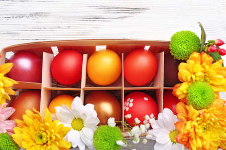Easter eggs in a box, top view Stock Photo
