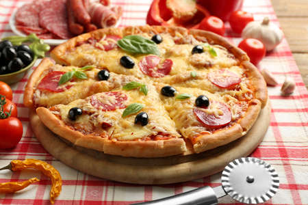 Fresh baked pizza, close up Stock Photo