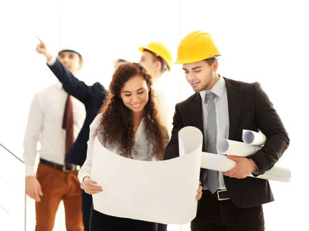 Few engineers with blueprint in office Stok Fotoğraf - 96212560