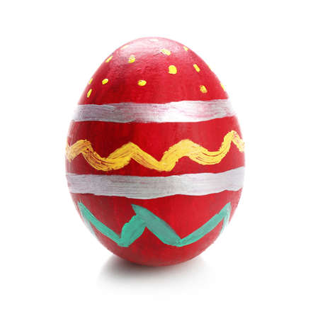 Painted Easter egg isolated on white Stock Photo