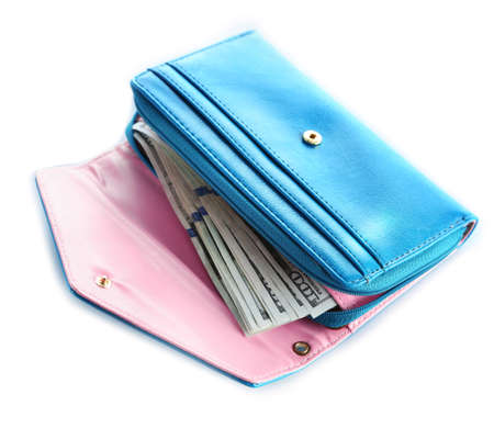 Blue wallet isolated on white. Stock Photo