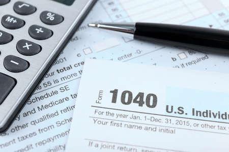1040 Income Tax Form, close up Banque d'images