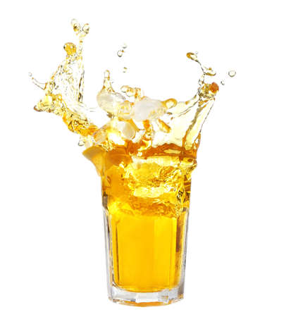 Ice tea with lemon splash, isolated on white background Foto de archivo