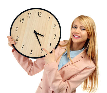 Young attractive woman holds a  clock, isolated on white Stock Photo