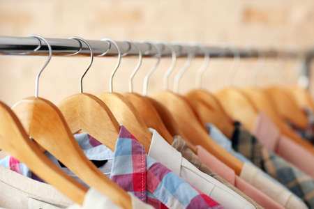 Male shirts on hangers, closeup