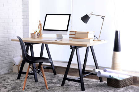 Modern room design. Stylish workplace. Stock Photo