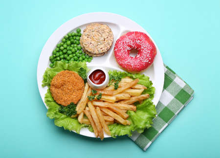 Traditional American lunch on blue background Stock Photo