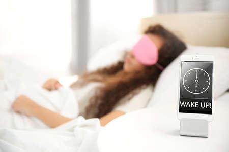 Beautiful girl sleeping in bed Stock Photo