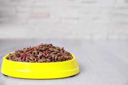 Bowl with dog food on the floor in front of brick wall background Foto de archivo