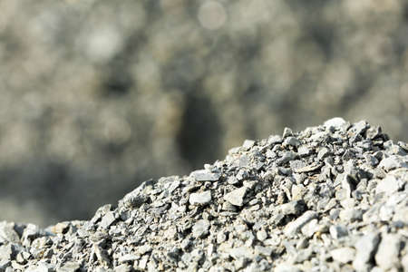 Pile of crushed grey stones.