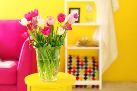 Design interior with beautiful fresh tulips Stock Photo