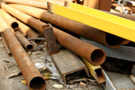 Copper industrial tubes on the ground Stock Photo