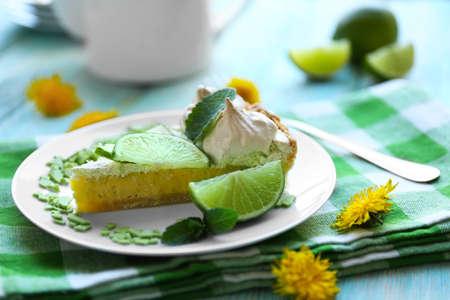 Tasty lime cake slice, close up