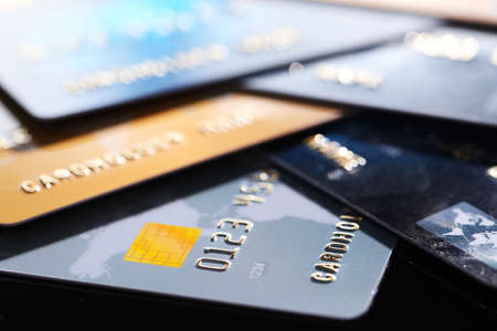 Credit cards, close up