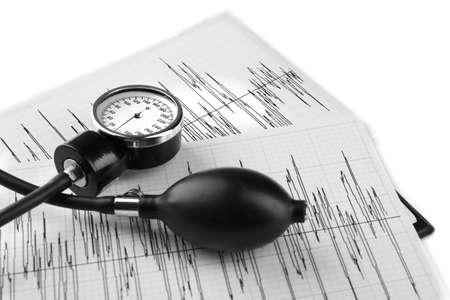 Medical manometer lying on cardiogram chart close up